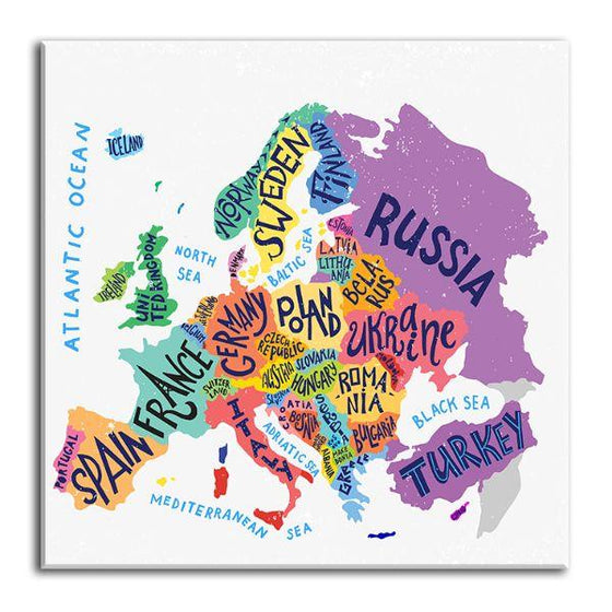 Colorful European Map Canvas Wall Art