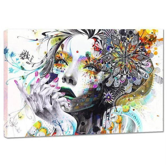 Colorful Floral Lady Wall Art Canvas