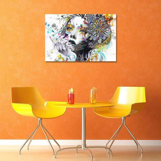 Colorful Floral Lady Wall Art Dining Room