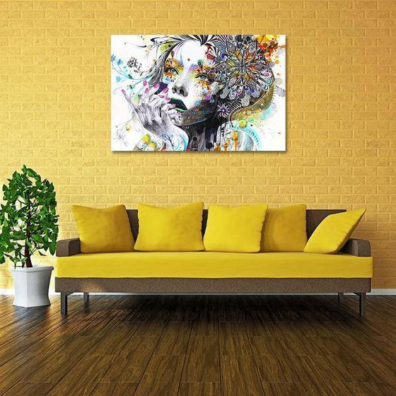 Colorful Floral Lady Wall Art Living Room