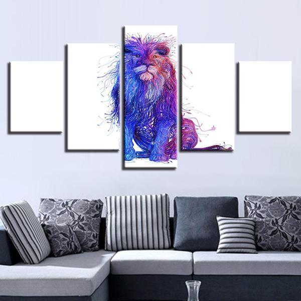 Colorful King Of The Jungle Wall Art Living Room