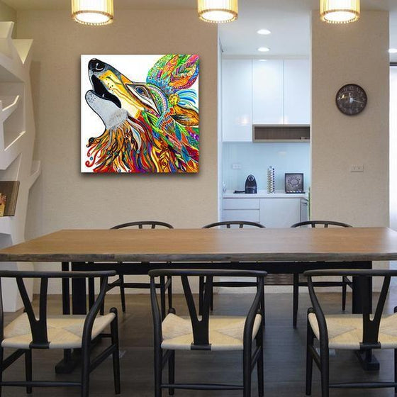 Colorful Mandala Wolf Wall Art Dining Room