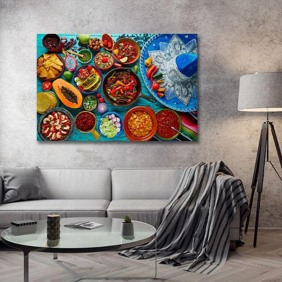 Colorful Mexican Food Canvas Wall Art Living Room