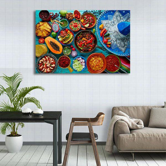 Colorful Mexican Food Canvas Wall Art Print