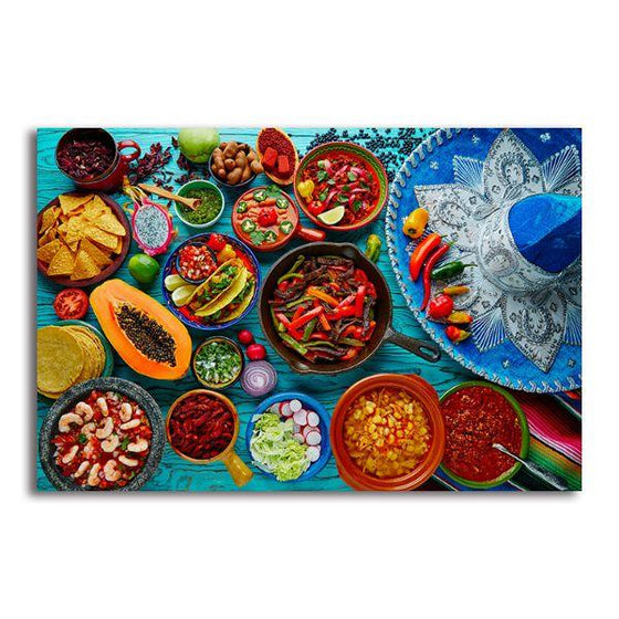 Colorful Mexican Food Canvas Wall Art