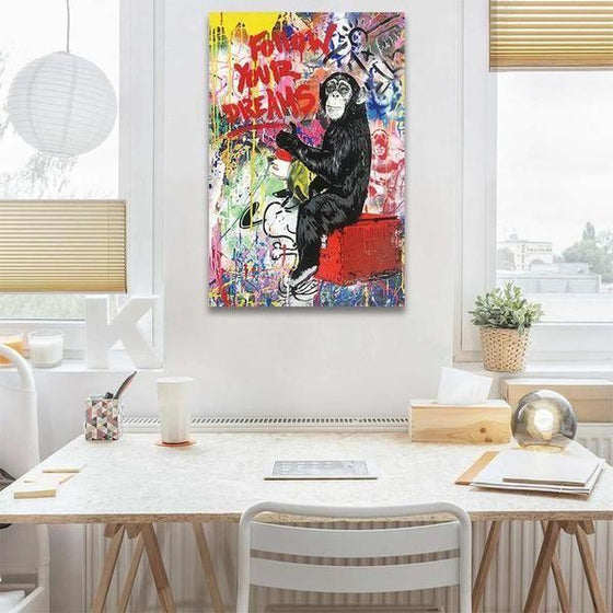 Colorful Monkey Graffiti Canvas Wall Art Dining Room