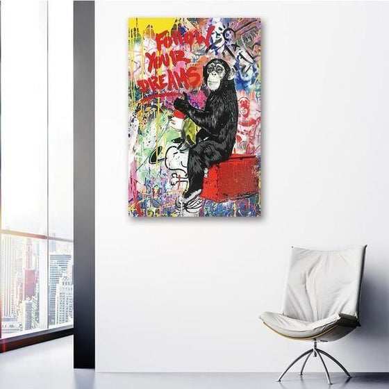 Colorful Monkey Graffiti Canvas Wall Art Print