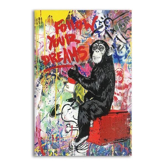 Colorful Monkey Graffiti Canvas Wall Art