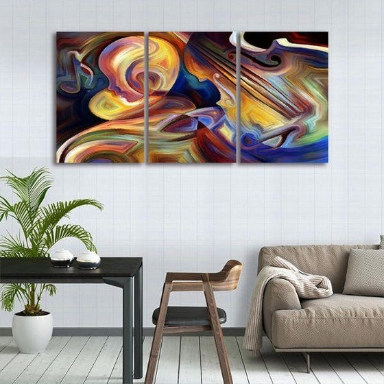 Colorful Music 3 Panels Abstract Canvas Wall Art Decor