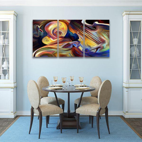 Colorful Music 3 Panels Abstract Canvas Wall Art Dining Room