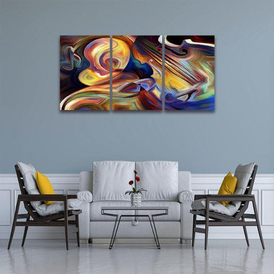 Colorful Music 3 Panels Abstract Canvas Wall Art Living Room