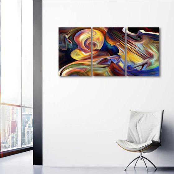 Colorful Music 3 Panels Abstract Canvas Wall Art Print