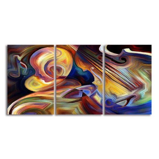 Colorful Music 3 Panels Abstract Canvas Wall Art