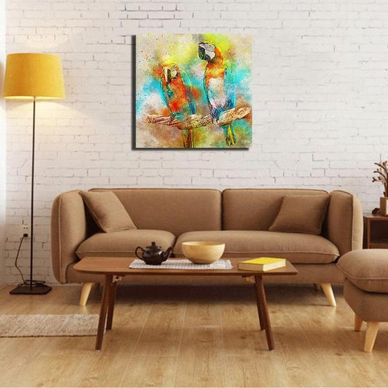 Colorful Parrot Couple Canvas Wall Art Ideas
