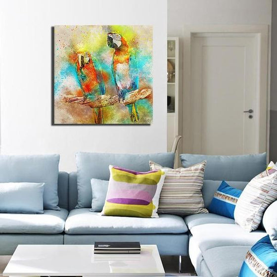 Colorful Parrot Couple Canvas Wall Art Living Room