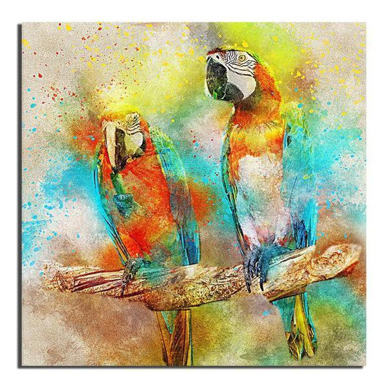 Colorful Parrot Couple Canvas Art
