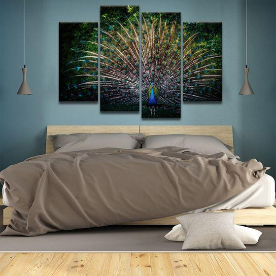 Colorful Peacock Tail 4 Panels Canvas Wall Art Bedroom