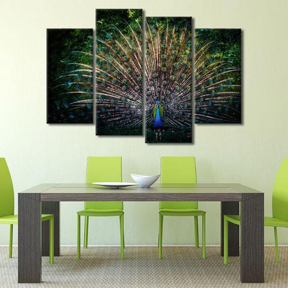 Colorful Peacock Tail 4 Panels Canvas Wall Art Dining Room