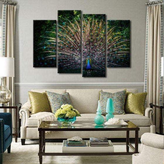 Colorful Peacock Tail 4 Panels Canvas Wall Art Living Room
