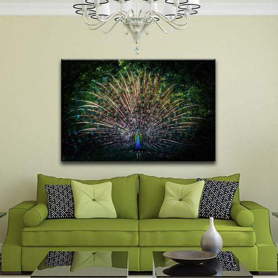 Colorful Peacock Tail Canvas Wall Art Living Room
