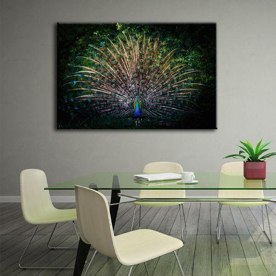 Colorful Peacock Tail Canvas Wall Art Office