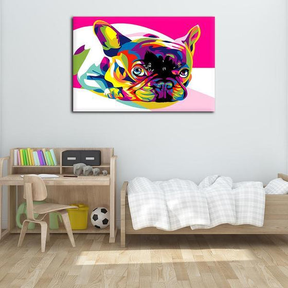 Colorful Pug Canvas Wall Art Bedroom