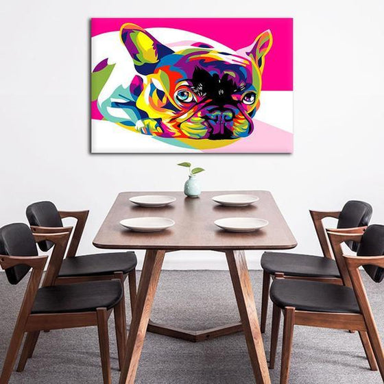 Colorful Pug Canvas Wall Art Dining Room