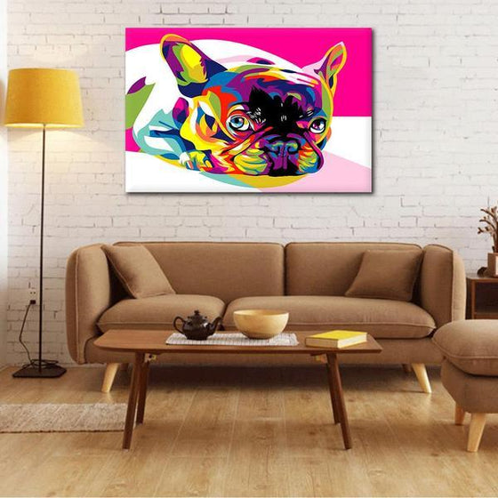 Colorful Pug Canvas Wall Art Living Room