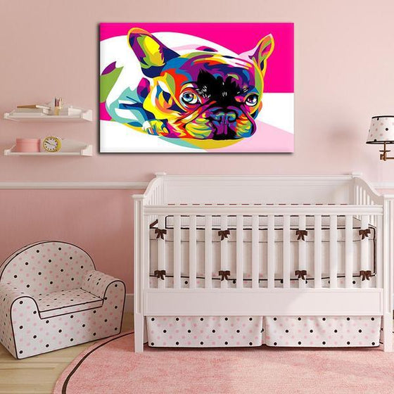 Colorful Pug Canvas Wall Art Nursery