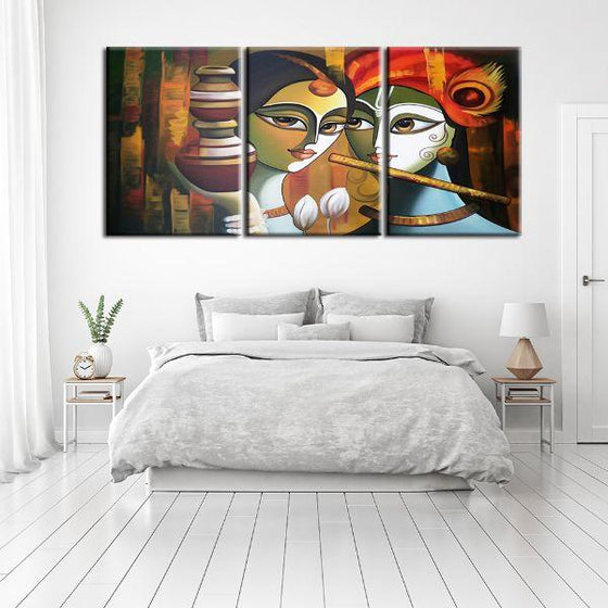 Colorful Radha & Krishna 3 Panels Canvas Wall Art Bedroom