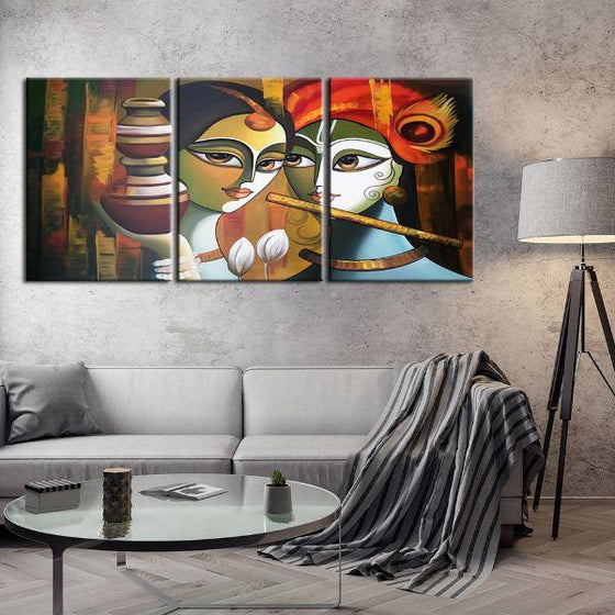 Colorful Radha & Krishna 3 Panels Canvas Wall Art Living Room