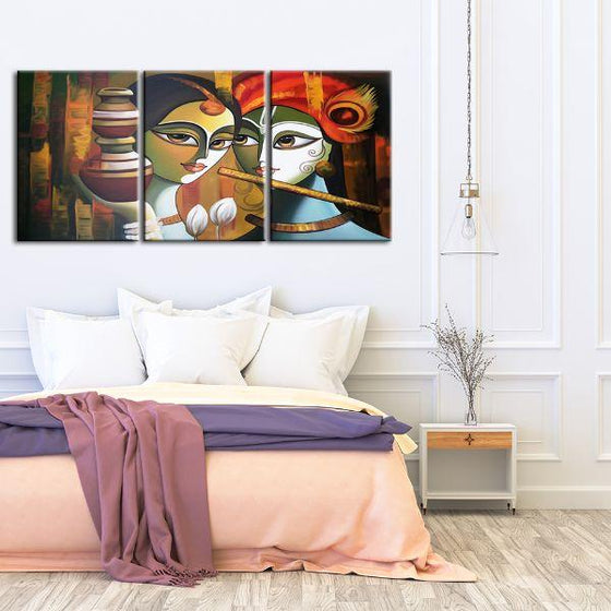 Colorful Radha & Krishna 3 Panels Canvas Wall Art Set