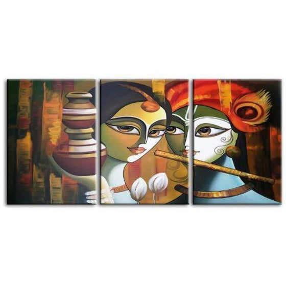 Colorful Radha & Krishna 3 Panels Canvas Wall Art