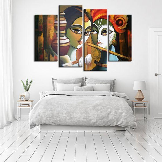 Colorful Radha & Krishna 4 Panels Canvas Wall Art Decor
