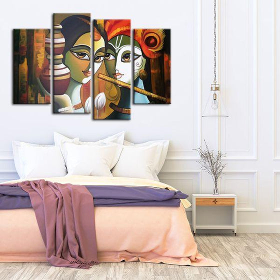 Colorful Radha & Krishna 4 Panels Canvas Wall Art Print