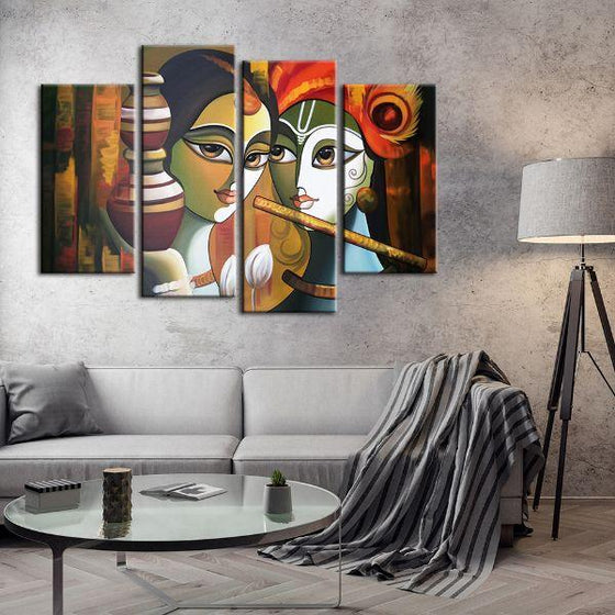 Colorful Radha & Krishna 4 Panels Canvas Wall Art Set