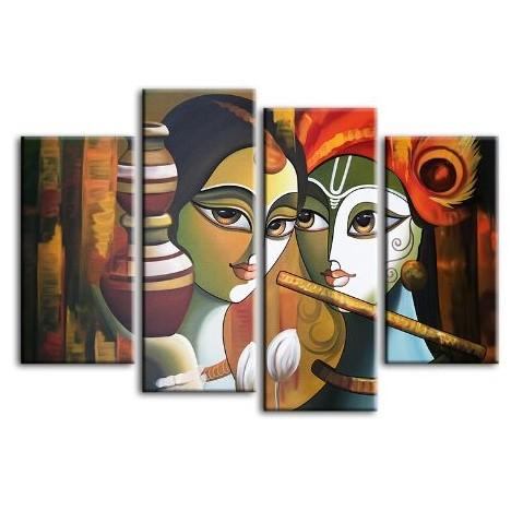 Colorful Radha & Krishna 4 Panels Canvas Wall Art