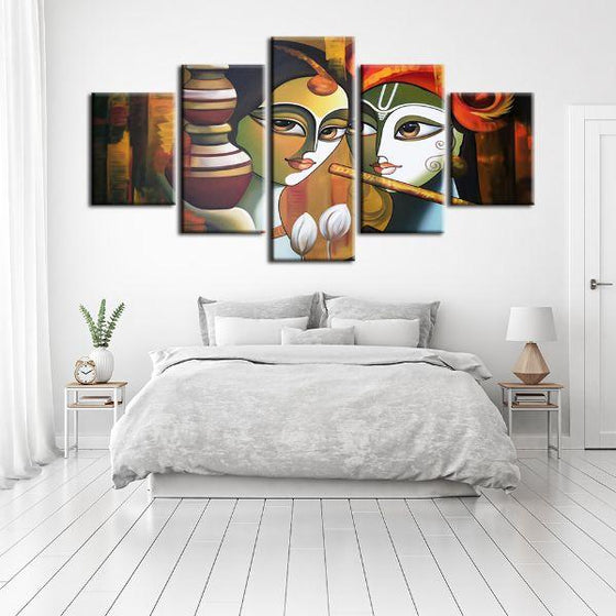 Colorful Radha & Krishna 5 Panels Canvas Wall Art Bedroom
