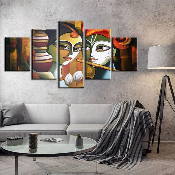Colorful Radha & Krishna 5 Panels Canvas Wall Art Living Room