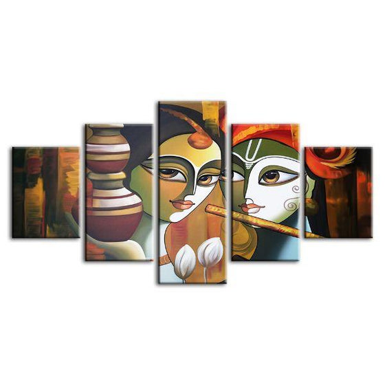 Colorful Radha & Krishna 5 Panels Canvas Wall Art