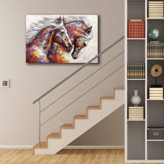 Colorful Running Horses Canvas Wall Art Decor