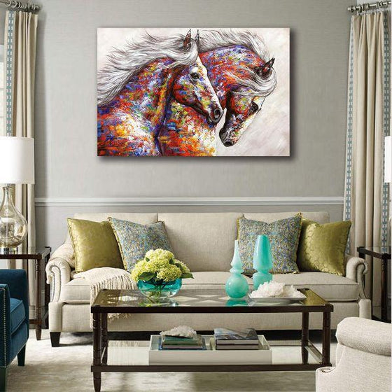Colorful Running Horses Canvas Wall Art Living Room