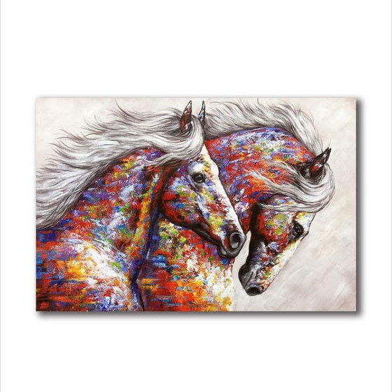Colorful Running Horses Canvas Wall Art