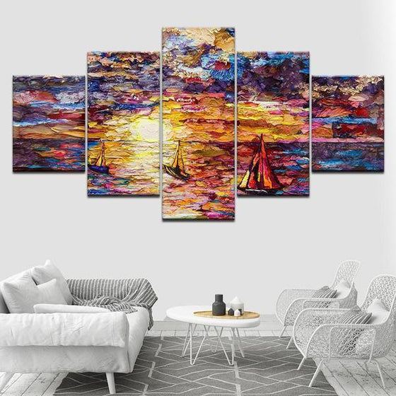 Colorful Sailboat View Canvas Wall Art Living Room