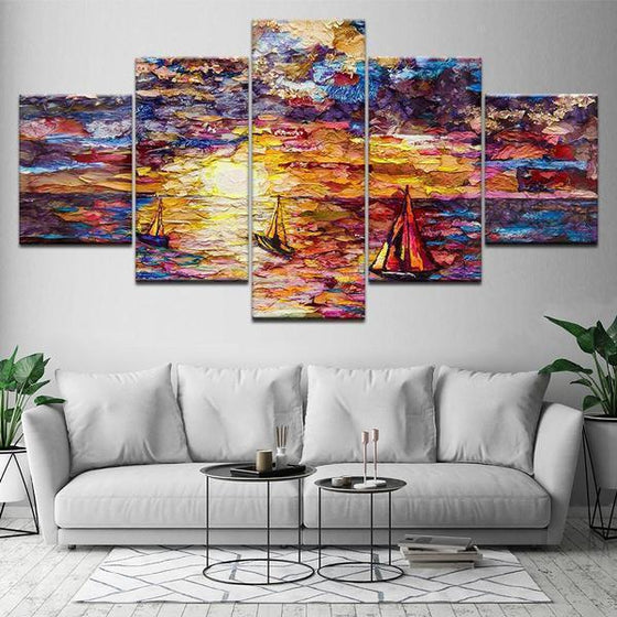 Colorful Sailboat View Canvas Wall Art Decor
