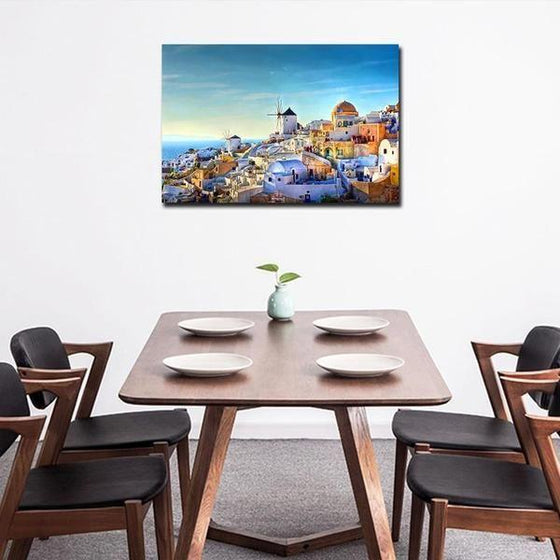 Colorful Santorini Houses Wall Art Dining Room