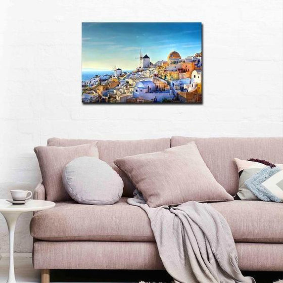 Colorful Santorini Houses Wall Art Living Room