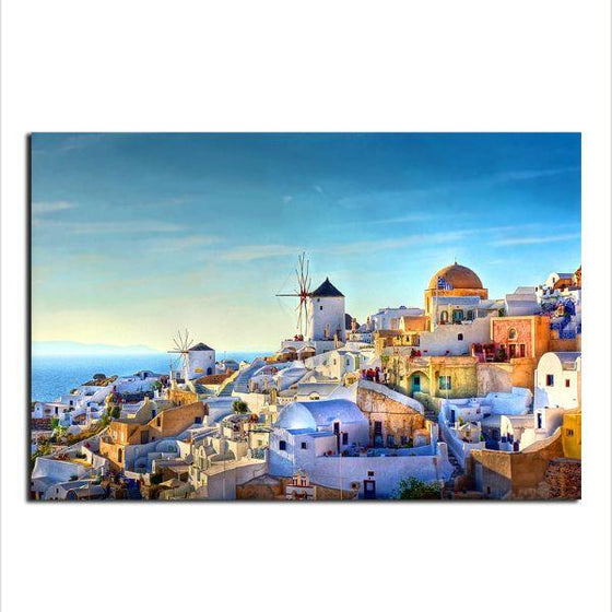 Colorful Santorini Houses Wall Art Print