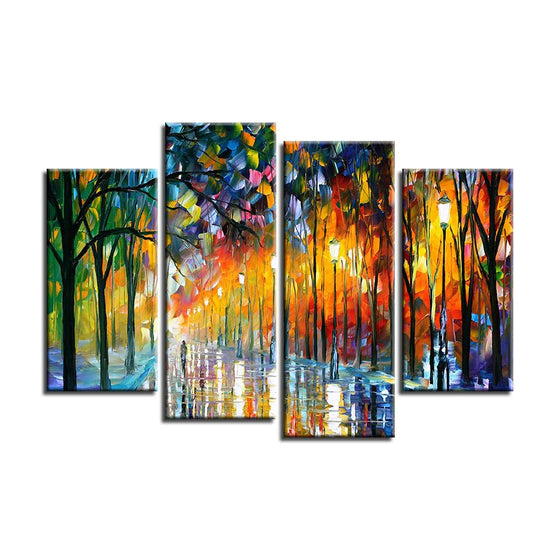 Colorful Tall Thin Trees Canvas Wall Art