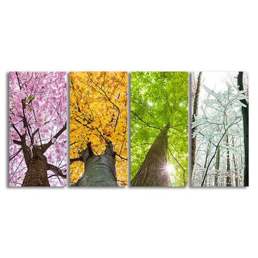 Colorful Treetops 4 Panels Canvas Wall Art